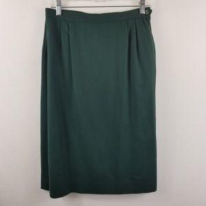 Lands End Wool Pencil Straight Skirt Dark Green